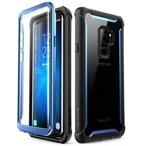 i-Blason Coque Samsung Galaxy S9+ Plus, [Série Ares] Coque Intégrale Anti-Choc avec Dos Transparent et Protecteur d'écran Intégré [Résistant aux Rayures] pour Samsung Galaxy S9+ Plus 2018 (Noir/Bleu) (I-Blason EU, neuf)