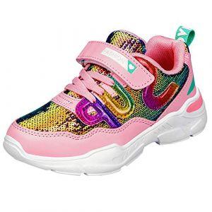 HSNA Baskets Mode Fille Légères Chaussures Scratch Sneakers Paillettes pour Fille(a1 Rose 32 EU) (HSNA, neuf)