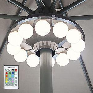 HONWELL Lampes Pour Parasol, 12 LED Lumière de Parasol, Lumière de patio à piles avec télécommande RF, éclairage Parasol Pour Terrasse, Jardin, Tente (honwell, neuf)