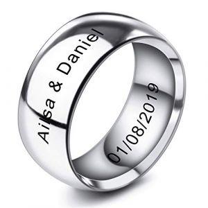 MeMeDIY 10mm Ton d'argent Acier Inoxydable Anneau Bague Bague Mariage Amour Taille 70 - Gravure personnalisée (MeMeDIY, neuf)