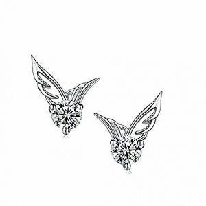 YIJIA Boucles d'oreilles Ange Aile d'Ange Cristal de Diamant Boucle d'oreilles Femme Argent 925 Ciselées Clou d'oreille (NANHUA, neuf)