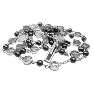 Collier chapelet avec perles hématite catholiques Médaille Saint Benoît et Croix de Jésus, belle amulette religieuse dans un sac en velours à Nazareth (Nazareth market Store, neuf)