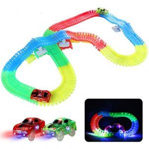 Circuit Lumineux Voiture Enfant Jouet Magique 240 Pièces Flexible Circuits Voitures Électrique Magnetique pour Enfants Garçons et Filles 3 4 5 6 Ans (Raykinn, neuf)