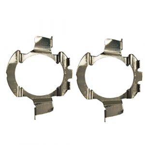 KOOMTOOM 2pcs métal LED H7 ampoules adaptateurs support de lampe pour phares support de prise Clips de montage de base Accessoires de conversion(K05) (Koomtoom, neuf)