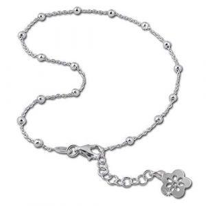 SilberDream Chaine de Cheville - Fleur ouverte - 26cm Argent sterling 925 - Bracelet de cheville - Bijoux Pied SDF2156 (Fit4Style Bijoux-en-argent, neuf)