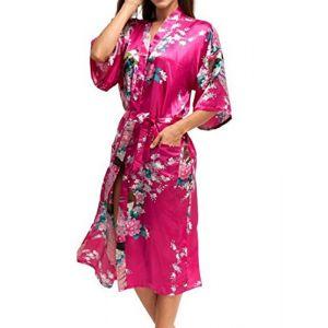 Peignoir Femme Imprimé Paon Fleur en Soie Artificielle - Robe de Chambre Longue Style de Kimono - Rouge Rosé - Taille L (JINWEIEU, neuf)