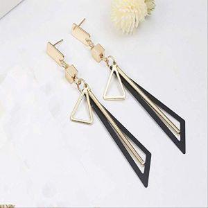 Boucles d'oreille pour les femmes Tempérament simple géométrie boucles d'oreilles pendantes Triangle creux alliage bande Dangle boucles d'oreilles pour les femmesnoir (Graceguoer, neuf)