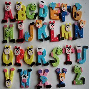 Jouets pour bébé,Fulltime®26pcs Cartoon en bois Alphabet A-Z aimants enfant jouet éducatif (Fulltime, neuf)