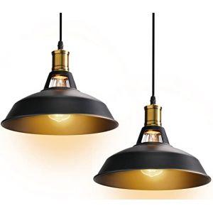STOEX Suspension Vintage Industrielle Lot de 2 Lampe de Plafonniers LED Retro Métal Lustre avec Abat-jour Luminaire E27 Eclairage de Plafond Noir (STOEX, neuf)