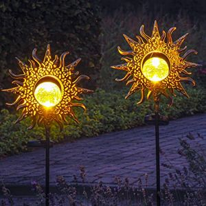 Gadgy Lampes Solaires De Jardin Avec Pique   Lot De 2   Deco Jardin Exterieur Pour Terrasse   Éclairage Pour Chemins   Lampe LED   Decoration De Métal Et Boule De Verre (Gadgysales, neuf)