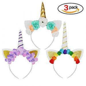 3PCS Serre-tête Licorne avec Fleurs Halloween Déguisement Bandeau Feutre Corne Oreilles Mignon Licorne Unicorn pour Cosplay Costume (Upper Store, neuf)
