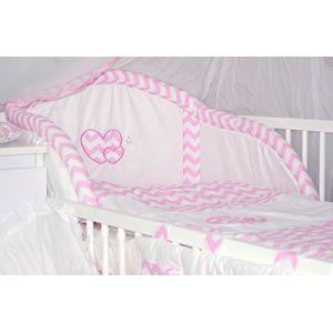 Baby's Comfort Parure de lit bébé ENSEMBLE DE 6 PIÈCES DE LITERIE CHOIX COULEURS HEARTS (s'adapte lit 140x70 cm, 7) (Baby's Comfort, neuf)