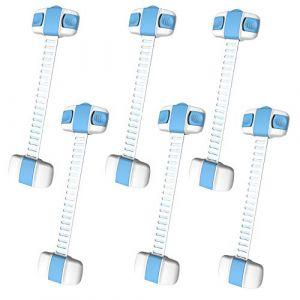 MINGZE Serrure de Sécurité Enfant lot de 6, Verrouillage Porte Bébé Bande réglable Loquets de Bébé Enfant sur Placard Armoires Tiroirs Fours Réfrigérateurs Faciles à Installer (Bleu) (MINGZE, neuf)
