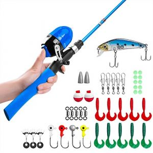 Canne à pêche pour enfants, Canne à pêche télescopique et Combos à moulinet avec moulinet de pêche Spincast et String avec ligne de pêche (Bleue-1.5 M) (TaoYou EU, neuf)