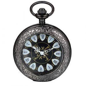 Montre de Poche Mécanique Avaner Montre Gousset Montre Homme Couvercle Transparente Cadran Chiffres Romains Bracelet Montre Gousset (Noir) (Avaner Watch, neuf)