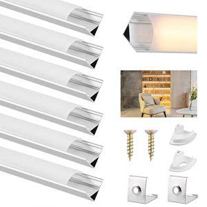 Profilé Aluminium LED, DazSpirit 6Pack 3.3ft/1M Aluminium Profilé V-Forme En Couvercle De Diffuseur Blanc Laiteux pour Ruban LED, Avec les Embouts et les Clips de Fixation du Métal (Crolex, neuf)