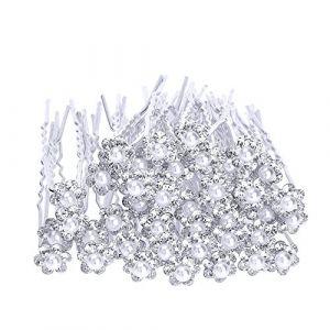 eBoot 40 Pack Mariage mariée Perle Fleur Cristal Épingle à Cheveux, Blanc ( Neuf Marketplace )