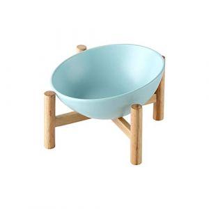 HCHLQLZ Bleu Porte-gamelle Surélevée Gamelle incliné pour Chien et Chat Céramique avec Bambou Support en BoisGrand (Hetoco, neuf)