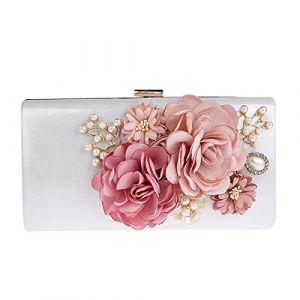 KELAND Fleurs élégantes Sac Embrayage Pochette Mariage Pochette de soirée Pour Femme (Argent) (TOOKY, neuf)