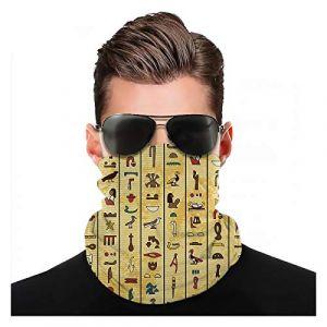 Tissu égyptien Yeuss par foulard, hiéroglyphes colorés sur fond de style vieux papier papyrus Culture du Caire, bonnet élastique foulard foulard couverture tête de mort casquette coiffures foulard (Tuing, neuf)