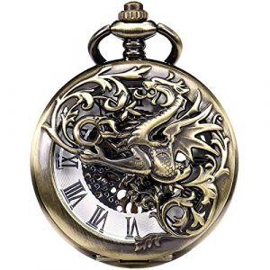 Montre De Poche, ManChDa Montre Gousset Lucky Dragon & Phoenix Vintage Mécanique Steampunk Squelette Chiffres Romains Fob Montre avec Chaîne pour Hommes Femmes (Bronze) (ManChDaEU, neuf)