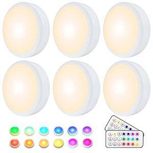 Lampe de Placard, HELPLEX Lampe LED Veilleuse RGB 16 Couleurs Sans Fil, éclairage d'escalier, éclairage de jeu sans fil à LED, avec 2 Télécommandes et Fonction de synchronisation, Paquet de 6 (Co-Wind (EU), neuf)