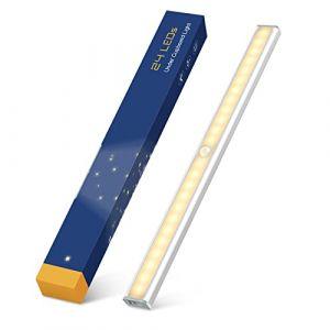 24 LED Lampe de Placard Rechargeable par USB, TASMOR sans Fil Magnétique Veilleuse LED Détecteur de Mouvement 40cm L Automatique Lumière de Nuit pour Armoire, Escalier, Bureau, Cuisine, Tiroir (tasmor, neuf)
