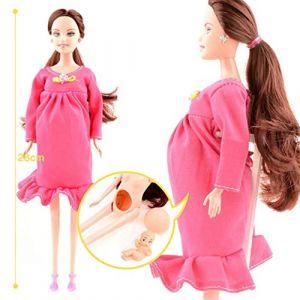 Peluche Pour Barbie, Robe Rouge Réel Enceinte Poupée Costume Enceinte Poupée Maman Poupée A Un Bébé En Son Ventre Attrayant Barbie Jouet Pour Enfant Enfant (2 Pack) (Couleur : Pink) (SunnyGod, neuf)