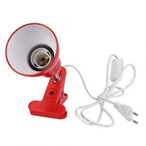 Domybest Porte Lampe de Table Lampe de Bureau Pince Rotation de 360 Degrés Support Douille Ampoule e27 Base de Lampe avec Fil de Commutateur (Rouge) (Domybestshop, neuf)