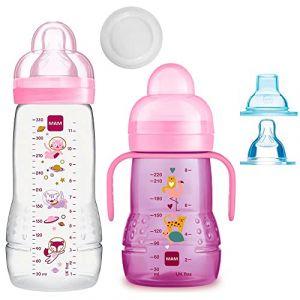MAM Smart Set Girls à partir de 4 mois // Baby Bottle Easy Active Gourde 330 ml avec tétine Gr.2 & MAM Trainer avec tétine Taille 4 sans goutte et bec souple (babywaren24, neuf)
