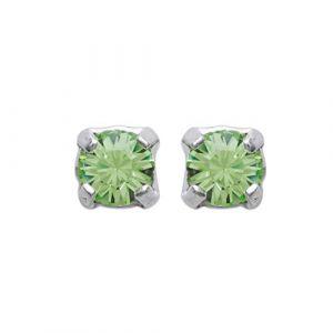Boucles d'oreilles en argent 925/000 et cristal vert - 3 mm - Homme Femme Enfant (Tata Gisèle, neuf)