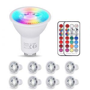 YAYZA! 8-Paquet Premium Dimmable GU10 6W RGB + Blanc Froid 6000K Couleur changeante IR Télécommande LED Spot Downlight Ampoule (ClickBuy Group, neuf)