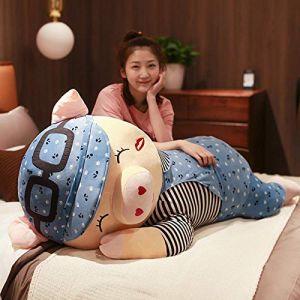 Peluche jouet mignon couché fille de porc poupée dormir cochon cochon long oreiller poupée-Cochon couché (loucher) bleu_85cm (lizhaowei531045832, neuf)