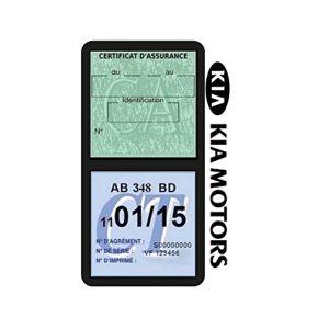 Générique Étui Double Assurance Kia Motors Noir Porte Vignette adhésif Voiture Stickers Auto Retro (Stickers-auto-retro, neuf)