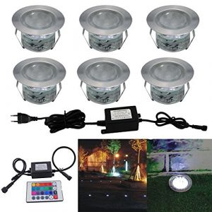 6 Kit Spot Encastré Extérieur Sol Terrasse Bois,45mm Spots Encastré Extérieur Fait en IP67 DC12V 0.2-0.5W Avec Alimentation EU Pour Jardin Escalier Patio RVB (CHENXU, neuf)