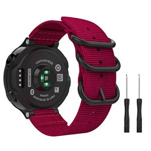 MoKo Bracelet Compatible avec Garmin Forerunner 235/220 / 230/620 / 630 / 735XT, Bracelet en Nylon Tissé Bracelet de Remplacement pour Garmin Forerunner 235 - Rouge (Guohe, neuf)