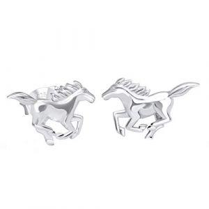 Boucles d'oreilles Five en argent sterling 925 avec motif cheval et cheval (FIVE-D, neuf)