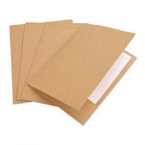 10pcs A4 Chemise Cartonnée avec Rabat à Deux pochettes, Dossier de Fichiers à Insertion en Papier Kraft, Porte Document Organisateur Stockage Contrat Rapports pour Société Bureau Maison Scolaire (JiahongUK, neuf)