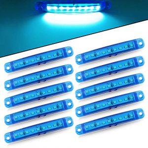10pcs Lumière Latérale 9SMD 12-24V Feux Latéraux Super Lumineux LED Pour Latéral Feux de Position Du Camion de Conduite Automatique Lumière Avant Feux Arrière de Remorque Moto (Bleu) (yifengshun, neuf)