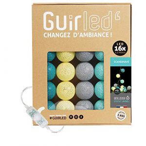 Guirlande Lumineuse boules coton LED USB - Chargeur double USB 2A inclus - 3 intensités - 16 boules - Scandinave (Lighting Arena, neuf)