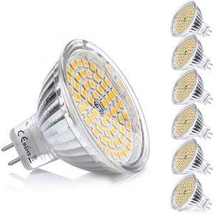 Yafido MR16 GU5.3 LED Ampoule Blanc Chaud Douille 12V 5W Equivalent à 35W Halogène Lampe GU 5.3 GU5 Spot 2800K 400 Lumen 120°Faisceaux Non-dimmable Ø50 x 48 mm,Lot de 6 (Yafido, neuf)