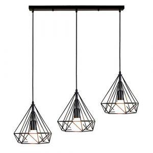 STOEX Lustre Suspension Industrielle de 3 lampes, Plafonnier en Métal Fer Abat-Jour forme diamant Luminaire pour Salon Salle à Manger Bar, E27 Noir (STOEX, neuf)