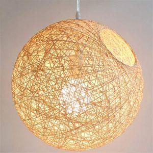 Suspension sisal Abat-jour Boule Ronde lustre rotin, Plafonnier LED en Sisal à la Main, Abat-jour Rotin Suspension Naturel Luminaire (30cm) (Cetées, neuf)