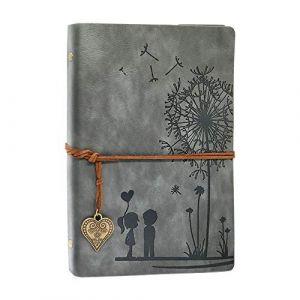 Carnet De Voyage A5, Carnet de Notes Voyage Diary Notebook Croquis Dessin Rechargeable Journal Cuir Vintage Cahier Bloc-Notes de Journal Vierge (gris, A5 21 x 14,5 cm) (Aomiduo-EU, neuf)