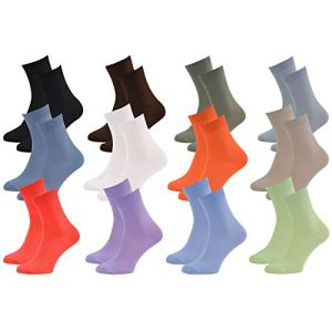 12 Paires de chaussettes Midi en BAMBOU pour Chaque Jour, Délicates Antibactériennes Respirantes Douces Confortable Unisexe Multicolore Pack, tailles 42-43 Certificat d'OEKO-TEX, Made en Europe (Iwuc, neuf)