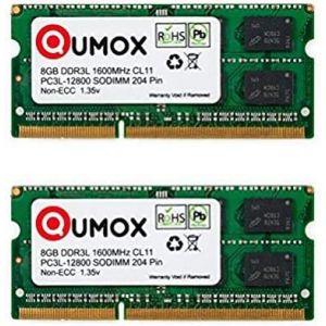 QUMOX 16 Go (2X 8 Go) 204 pin DDR3L-1600 So-DIMM Mémoire (1600Mhz, PC3L-12800S, CL11, 1.35V, Basse Tension) (yiouma, neuf)