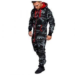 Combinaison Pyjama Homme Ensembles Capuche Grenouillere Long Adulte Salopette Jumpsuit Imprimé Zip Pantalon de Sports Muscle Zipper Youngii(Camouflage,L) (Youngii, neuf)