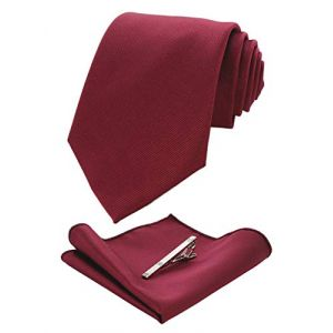 JEMYGINS Cravate Rouge Foncé Homme en Soie et Pinces à cravate Carre de poche Set(19) (JEMYGINS Tie Official Store, neuf)