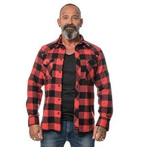 ROCK-IT Apparel® Chemise en Flanelle à Carreaux pour Hommes Manches Longues Chemise de bûcheron Chemise à Carreaux de qualité supérieure Chemise décontractée Chemise Tailles S-5XL Noir/Rouge 5XL (Triton Style - Merchandising, neuf)