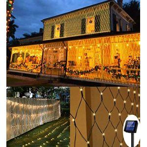 Filet Lumineux Solaire, 3M*2M LED Guirlande Lumineuses Filet, 8 Modes d'Eclairage Balcon Clôture Mesh Fairy Light, Rideau Lumières Etanche Romantique Déco de Noel pour Mariage de Fête Jardin Terrasse (OneSike, neuf)